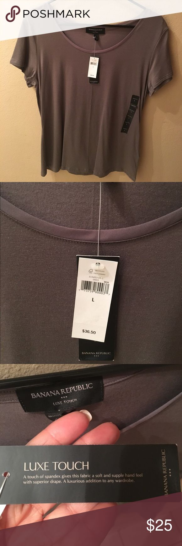 Banana Republic Soft T-Shirt Banana Republic soft t-shirt in gray with round neck. The same comfortable t-shirt is also available in my closet in bone white (SOLD) and black. Banana Republic Tops