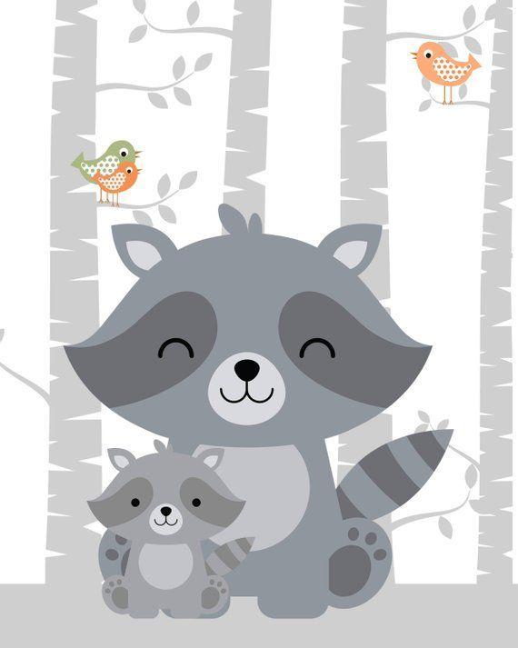 Gravures de pépinière d'animaux, pépinière forestière, décor de pépinière forestière, art de pépinière forrest