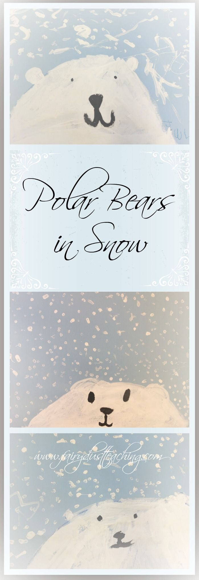 Polar Bears in Snow Art Project! Get the step-by-step how to from Fairy Dust Teaching.