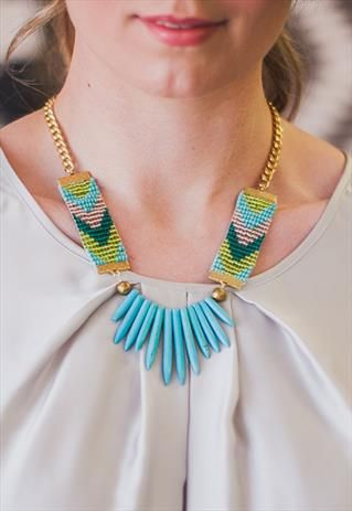 Adorn. Woven bead necklace, turquoise spikes, blue chevron seed bead straps from Shh by Sadie on ASOS Marketplace. Shhbysadie.com Tropical jewellery, handmade jewellery, holiday necklace. Aztec necklace.