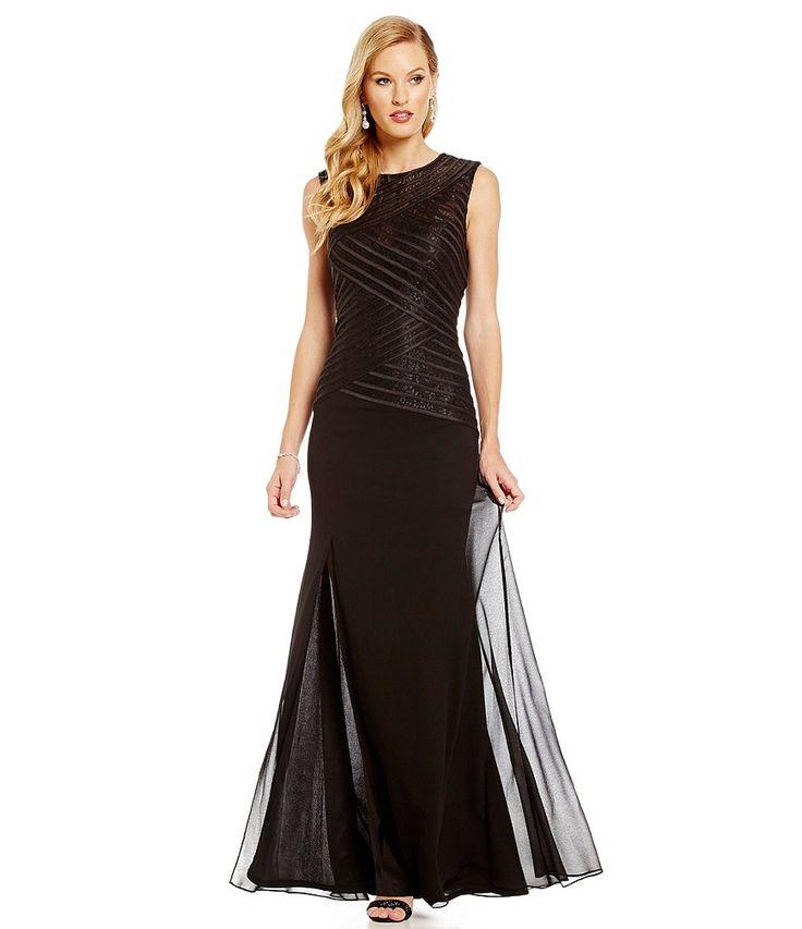 JS Collections Satin & Chiffon Gown Dillards Item #04664510