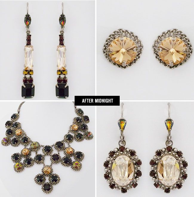 I have the necklace with earrings that cascade like the necklace. Love this set!! After Midnight Sorrelli!!!