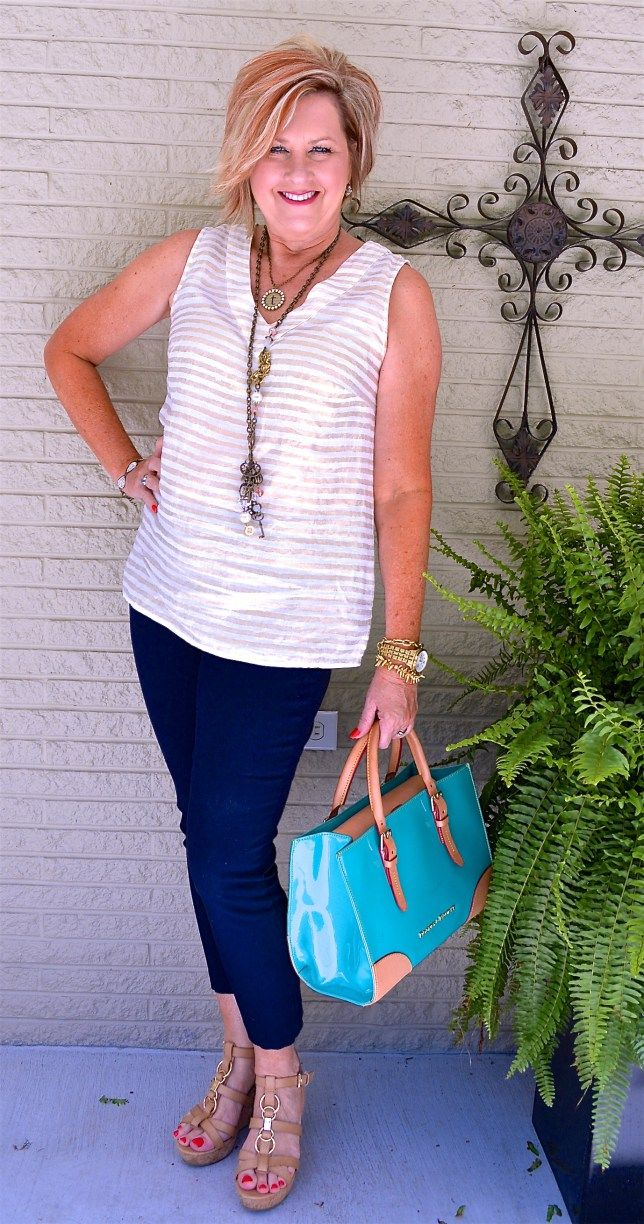 50 IS NOT OLD | LINEN METALLIC TOP | Summer outfit | Vacation wear | Fashion over 40 for the everyday woman.