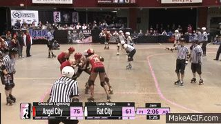 jumpy, spinny thing. 2015 WFTDA Champs - D1 Game 1: Angel City Derby Girls v Rat City Rollergirls