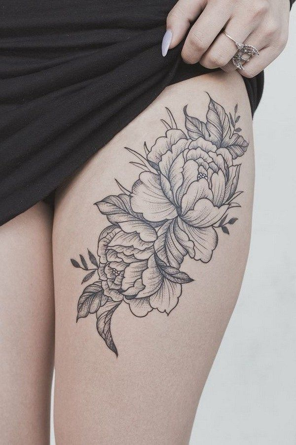 Peony flower thigh tattoo.                                                                                                                                                     More                                                                                                                                                     More