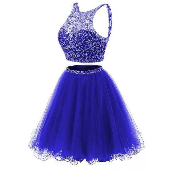 missgotti Short Two Piece Homecoming Dresses Satin Beads High Neck... ❤ liked on Polyvore featuring dresses, 2 piece homecoming dresses, blue cocktail dresses, beaded cocktail dress, high neck cocktail dress and short dresses