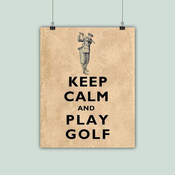 Golf Art Gofer Print Golfing Poster Keep Calm by DigitalArtLand