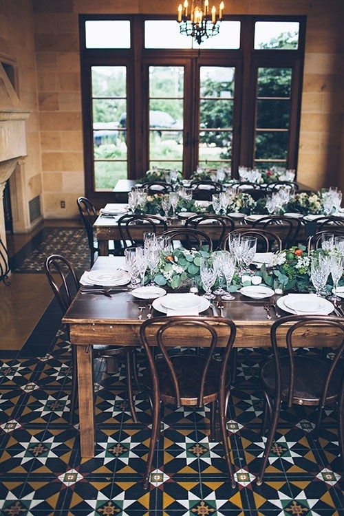 An Austin, Texas wedding featuring Party At The Moontower Event Rentals Harvest Tables.