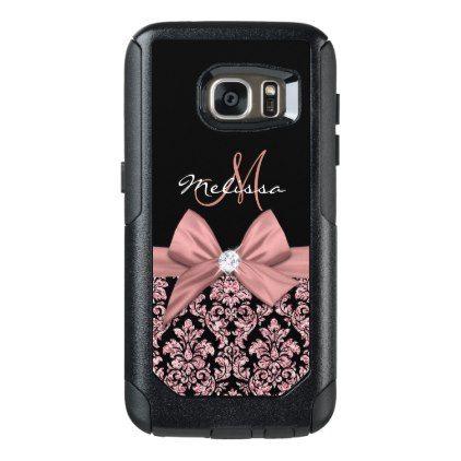 #Rose gold glitter Black Damask Bow Diamond OtterBox Samsung Galaxy S7 Case - #gold #glitter #gifts
