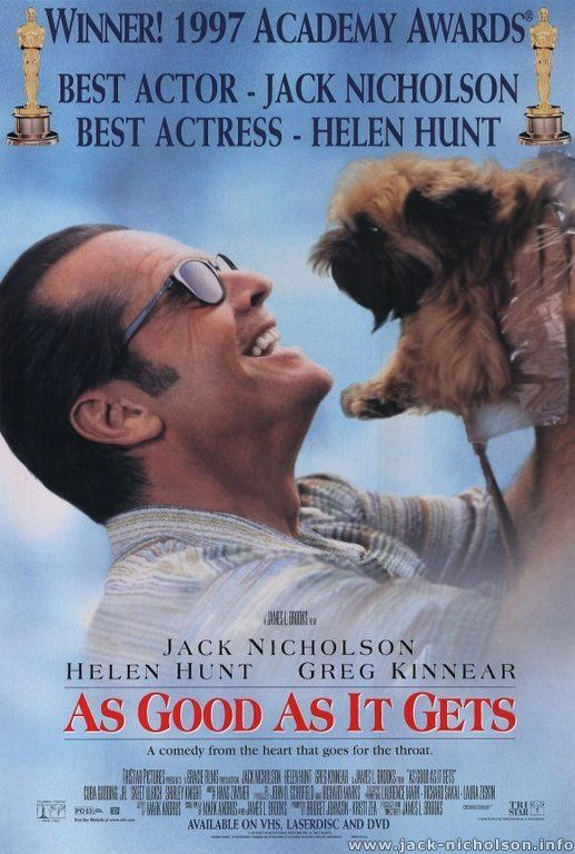 As Good As It Gets (1997) New York City. Melvin Udall, a cranky, bigoted, obsessive-compulsive writer, finds his life turned upside down when neighboring gay artist Simon is hospitalized and his dog is entrusted to Melvin. In addition, Carol, the only waitress who will tolerate him, must leave work to care for her sick son, making it impossible for Melvin to eat breakfast.