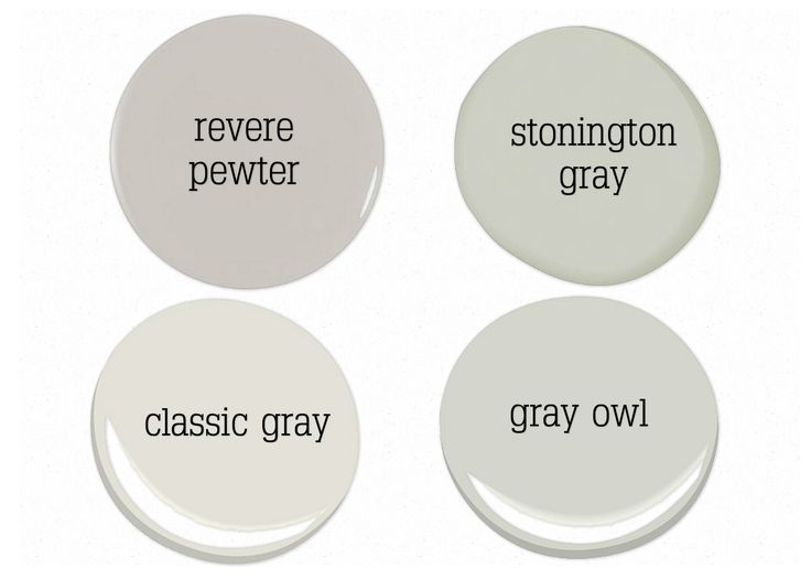 revere is my favorite gray...stonington gray is a great blue gray...classic gray is a neutral light gray and gray owl has a touch of green...
