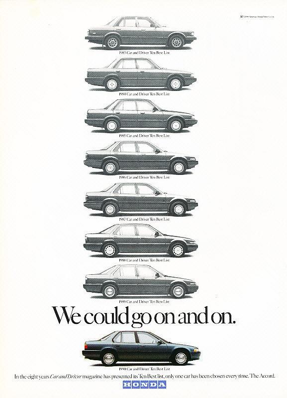 1990 Honda Accord - 10 Best Awards - Classic Vintage Advertisement