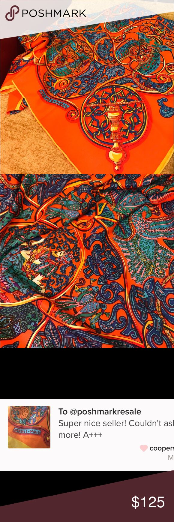 """Hermes print silk scarf 100% silk square  @50""""x50"""" You tube scarf folding ... halter top vest darling shawl neck coat hand bag .  No brand listed as Hermes for exposure Hermes Accessories Scarves & Wraps"""