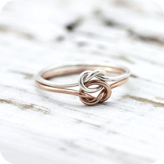 Bague noeud double - argent et or rose ou jaune (goldfilled), bague d'amitié