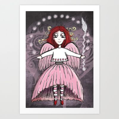 Quirky Pinkness Angel Art Print by Girl Quirky - $25.00