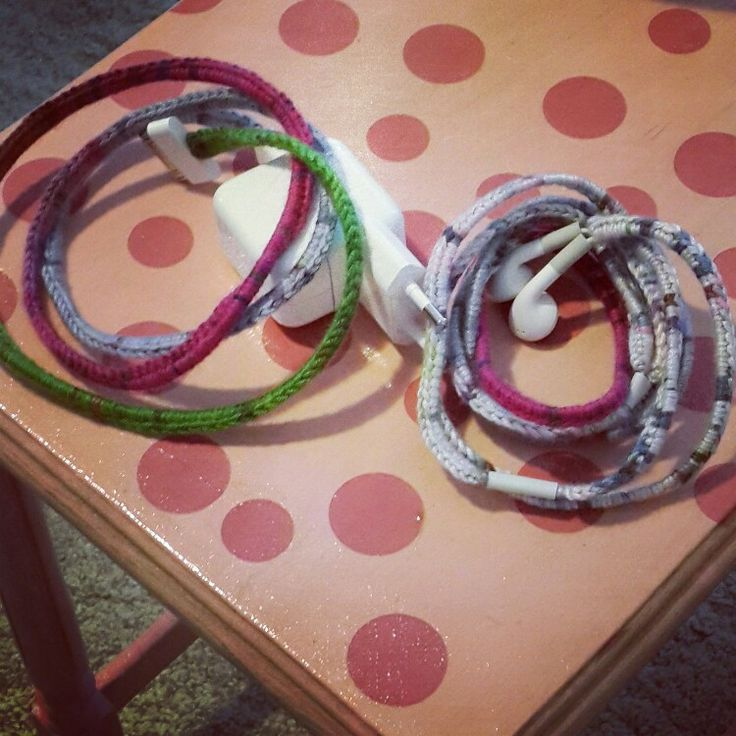 Handmade Crochet headphones and charger