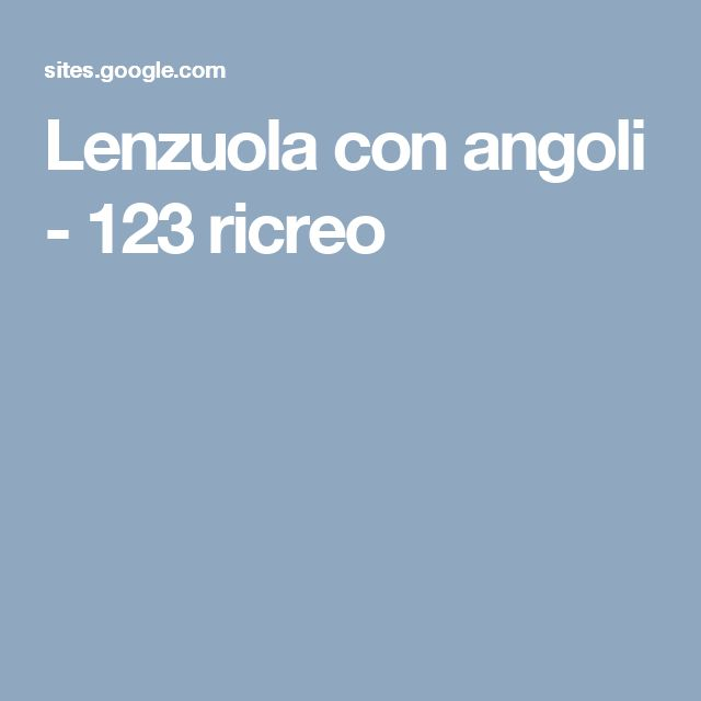 Lenzuola con angoli - 123 ricreo