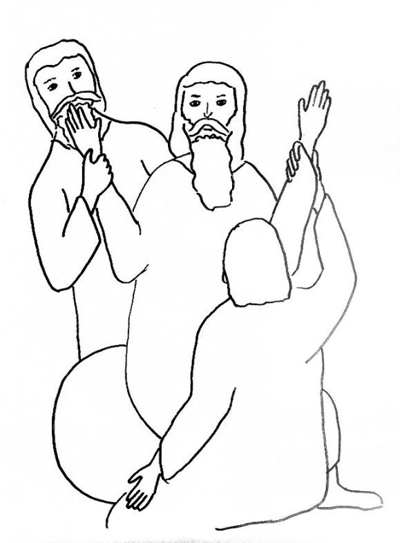Bible Story Coloring Page for Moses and the Battle with