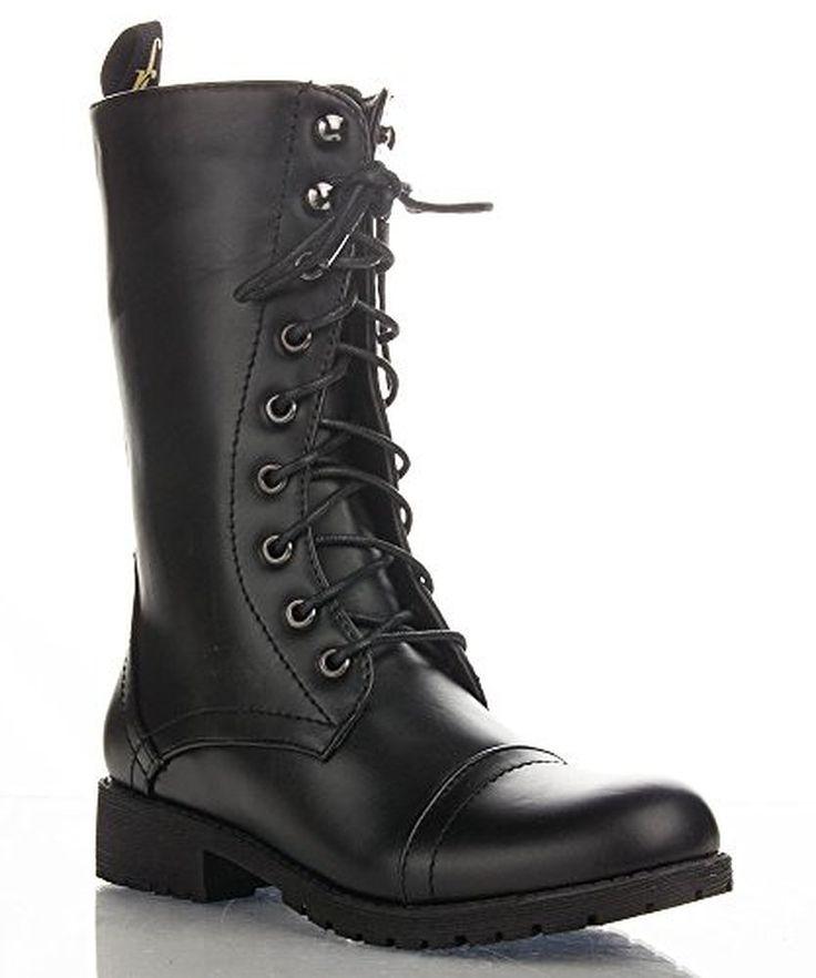 Nature Breeze Lug-11 Women's Military Lace Up Combat Boots