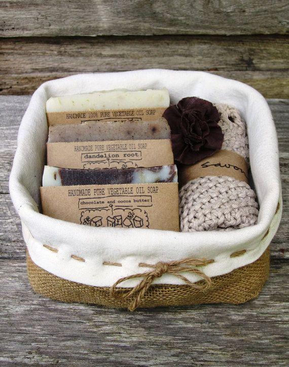 Set de regalo Pack - cesta de regalo, regalo de jabón, jabón hecho a mano, jabón natural, jabón de proceso en frío