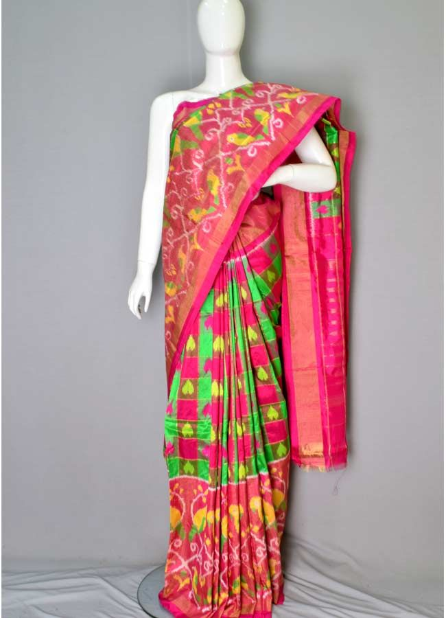 c08b1daa92 Ikat Silk Pink And… | Online shopping Ikkat Silk Sarees From ...