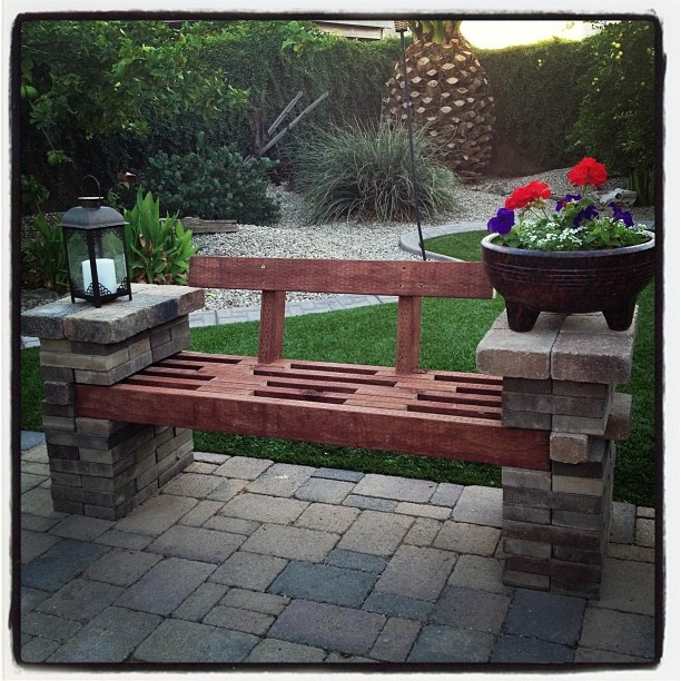 Patio Made Out Of Pavers: Bench Made Out Of Left-over Patio Pavers And A Few 2x4's
