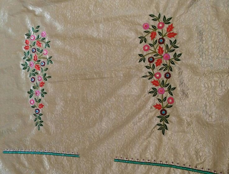 Thread & Needle work sleeves with opal stone boarder