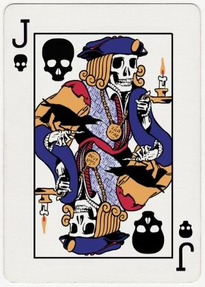 Jack of Death by Peter Donahue | more here: http://playingcardcollector.net/2014/11/21/playing-cards-by-peter-donahue/