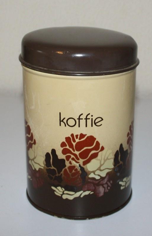 Vintage Brabantia koffiebus in beige met bruin decor