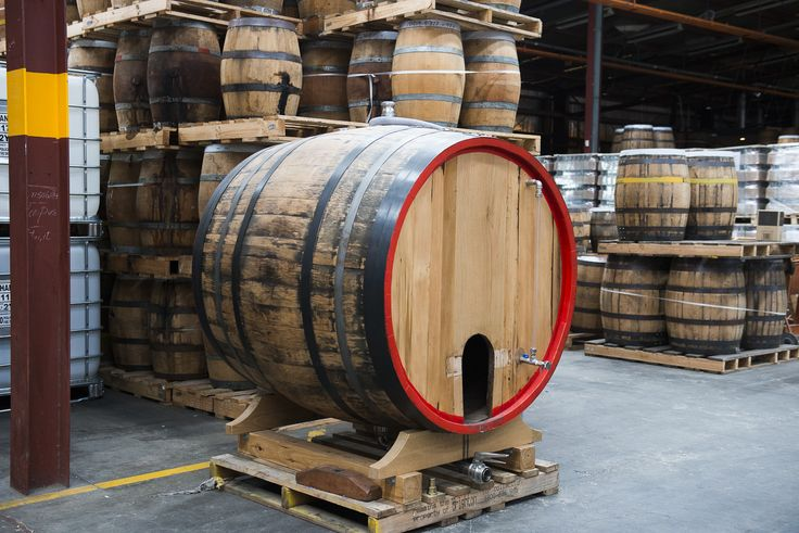 Big wooden whisky barrel