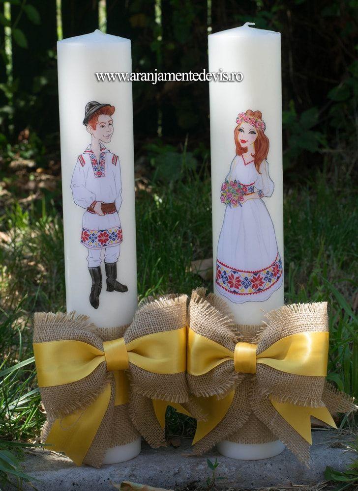 Lumanari nunta rustice