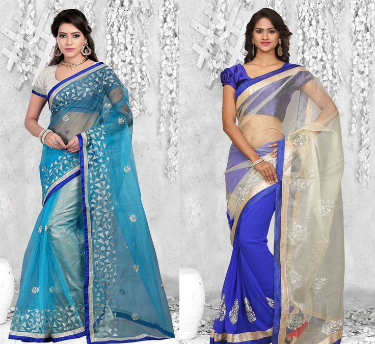 """""""#Love is so short, forgetting is so long."""" Pack of 2 Designer #Party Wear #Sarees"""