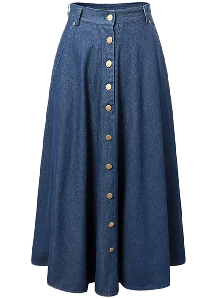 The denim skirt is featuring button front, patch pockets, pleated decoration and solid color.