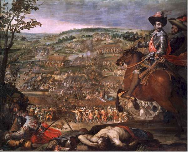 The battle of Fleurus (1622) was an overwhelming Spanish victory. The Protestant army tried, with some success, to collapse the Spanish cavalry on the flanks. But the Protestant cavalry, unaided by its own infantry was repulsed and the army withdrew. Spanish cavalry caught it I retreat the next day and destroyed it.