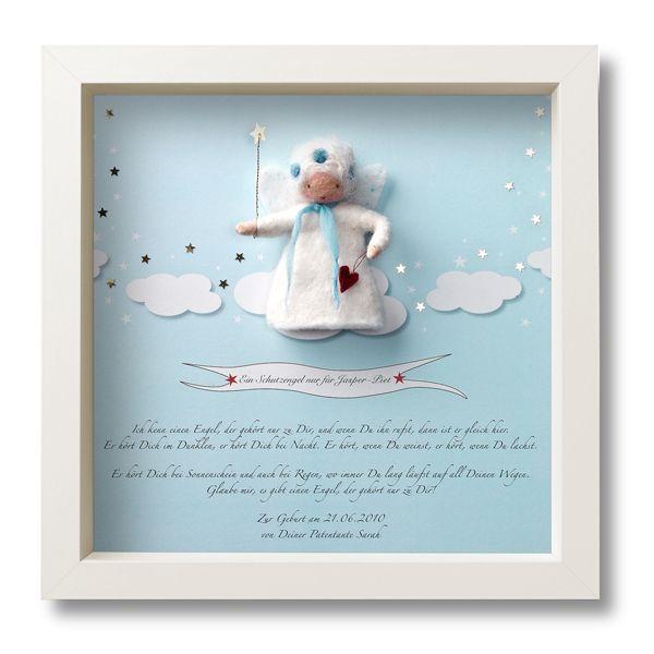 Ein handgefilzter Schutzengel - D A S persönliche Geschenk zur Geburt oder Taufe! Personalisiert mit Daten und Namen des Kindes! Auch für Jungs - dann ist der Hintergrund und der Engel in hellblau gehalten. Gedruckt wird auf einem...