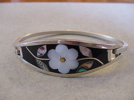 Vintage Mexico Alpaca Silver Bracelet Black by Magicclosetbling