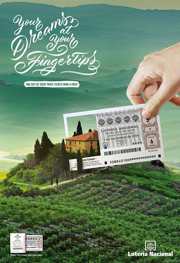 Publicité - Creative advertising campaign - National Lottery: Your dreams at your fingertips