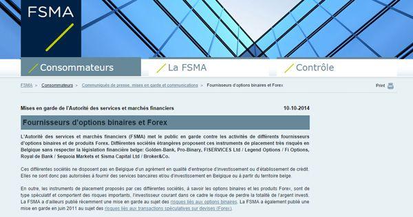 La FSMA intervient !