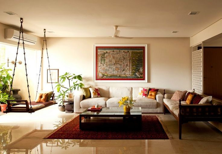 Living Room Interior Design Ideas India traditional indian homes | wooden swings, tapestry and swings