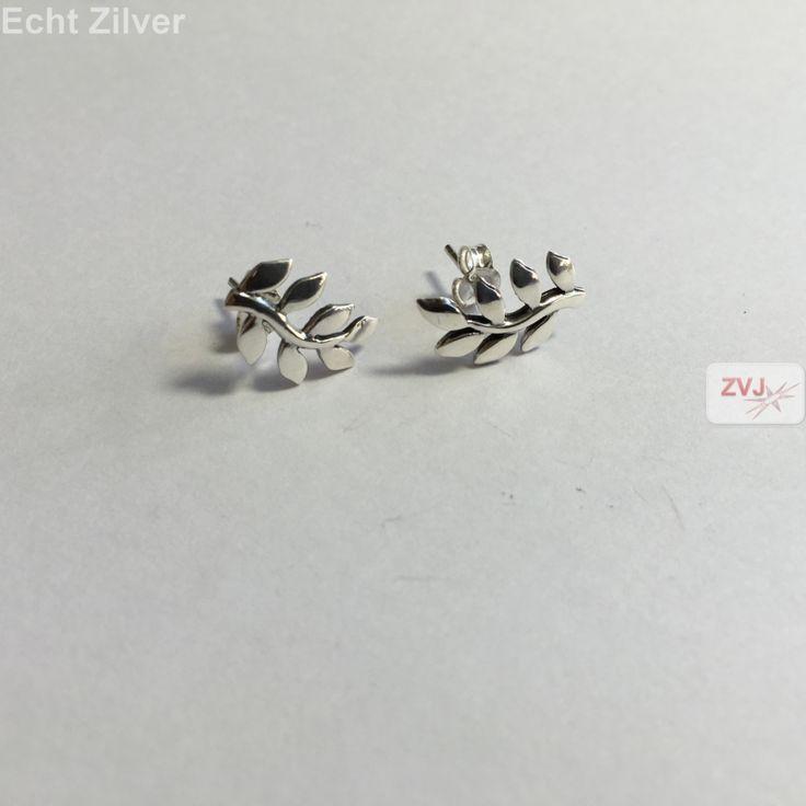 Zilveren leaf blad oorbellen stekers €12.95 inclusief verzenden - ZilverVoorJou Echt 925 zilveren sieraden