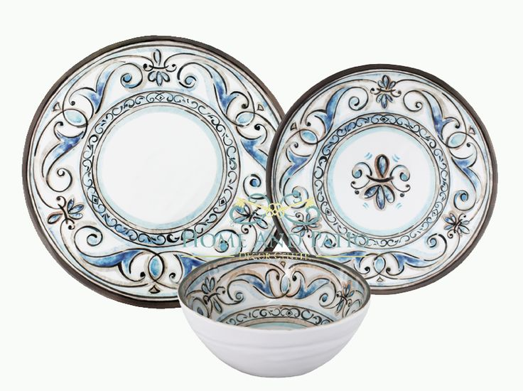 High Quality Le Cadeaux Fleur De Lis Melamine Dinnerware Set   Service For Six