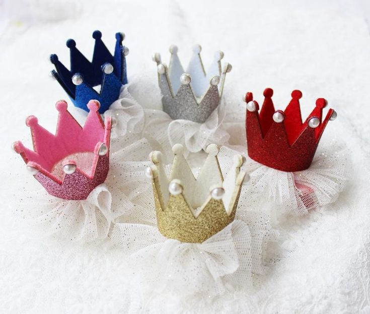 Glliter Felt Girls Hair Clips Crown Baby Hair Pin Tiara Princess Birthday Gold Silver with Glitter Tulle Head Wear Pretty Baby Hair Clips
