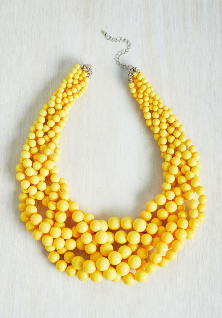 Braid to Love You Necklace in Sunflower. If ever a statement necklace were meant to be, this yellow wonder is it! #yellow #modcloth