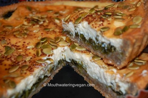 Vegan Ricotta Cheese, Spinach & Garlic Deep Pan Quiche from Mouthwatering Vegan