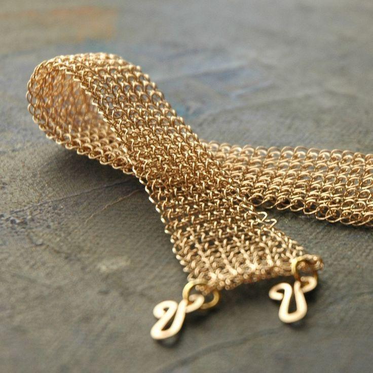 Gold crocheted bracelet  -  Grace. $98.00, via Etsy.