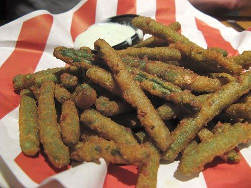 Green Bean Fries  TGI Friday's Copycat Recipe   Serves4   Wasabi Cucumber Ranch Dip:  1/2 cup bottled ranch dressing   (Hidden Valley i...