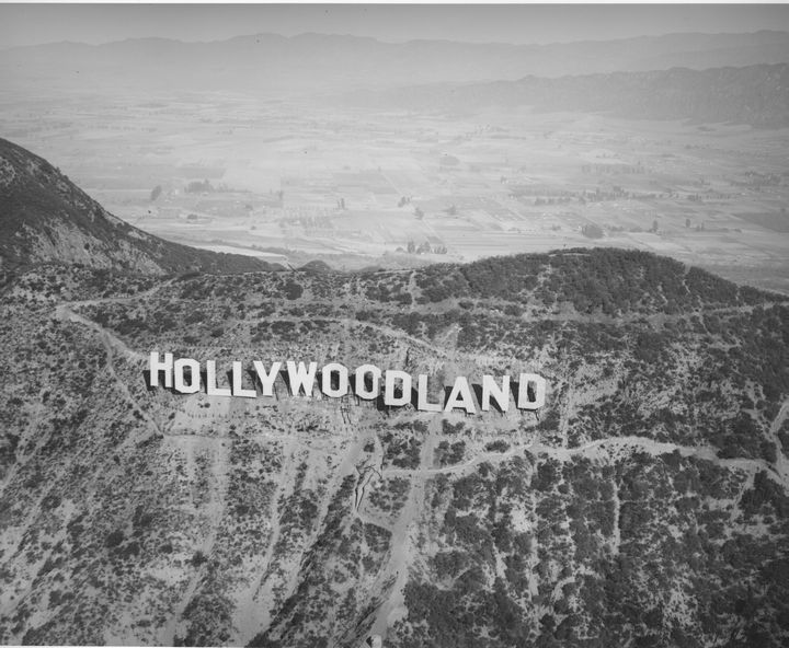 1930 Aerial Photo Of Hollywoodland Sign Hollywood SignHollywood Party Vintage