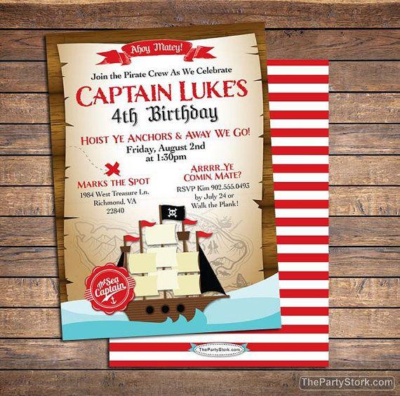 Invito di compleanno di pirata invito inviti del partito