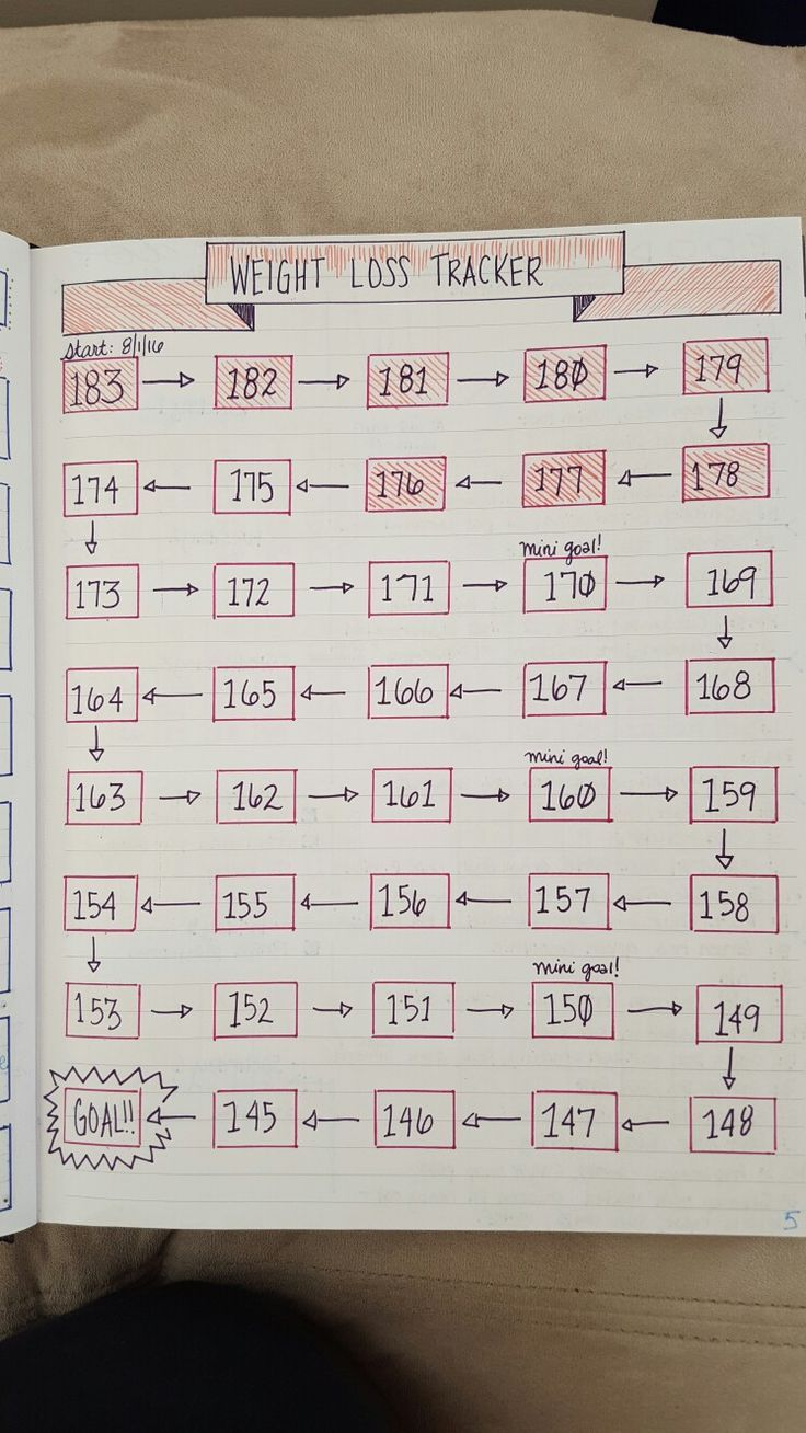 Bullet journal weight loss tracker....  Learn more at the photo