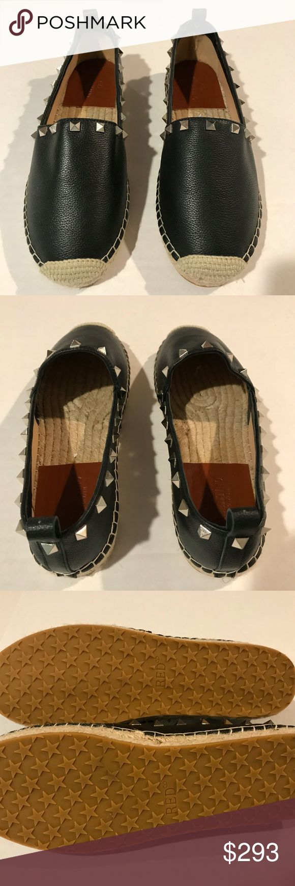 Valentino Rockstud Leather Espadrille Black 9 (US) Description: Black leather Valentino Rockstud round-toe espadrilles with featuring silver-tone pyramid stud embellishments, tonal stitching, jute soles and covered heels.   Condition: Excellent, new without tags  Designer: Valentino  PLEASE NOTE: Shoes' provenance remain unconfirmed, hence, their value pricing. Valeninto espadrilles retail for $895. Valentino Shoes Espadrilles